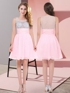 Baby Pink Empire Scoop Sleeveless Chiffon Mini Length Side Zipper Beading Court Dresses for Sweet 16