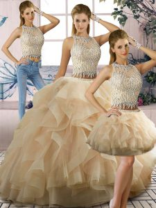 Excellent Champagne Scoop Zipper Beading and Ruffles Sweet 16 Dresses Sleeveless