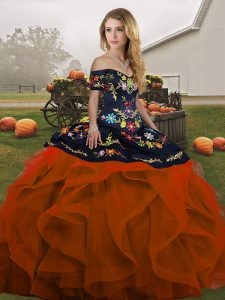 High Quality Rust Red Sleeveless Floor Length Embroidery and Ruffles Lace Up Vestidos de Quinceanera