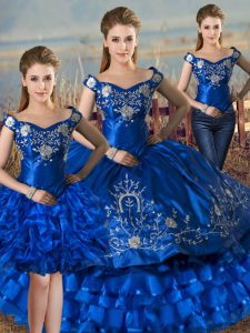 Popular Royal Blue Sleeveless Embroidery and Ruffled Layers Floor Length Ball Gown Prom Dress