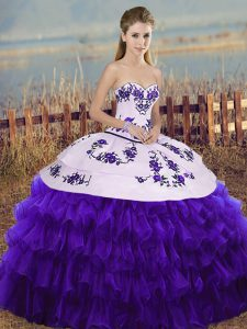 Wonderful White And Purple Sleeveless Organza Lace Up 15th Birthday Dress for Military Ball and Sweet 16 and Quinceanera