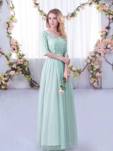 Attractive Half Sleeves Floor Length Lace and Belt Side Zipper Dama Dress with Light Blue