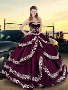 Custom Designed Sweetheart Sleeveless Lace Up Quince Ball Gowns Purple Satin