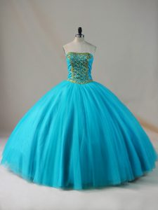 Blue Tulle Lace Up 15 Quinceanera Dress Sleeveless Floor Length Beading