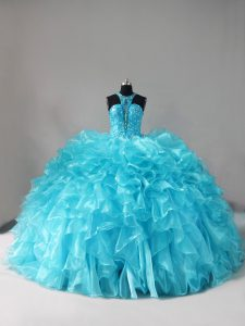 Eye-catching Aqua Blue Ball Gowns Organza Halter Top Sleeveless Beading and Ruffles Lace Up 15 Quinceanera Dress Brush Train
