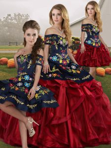Free and Easy Red And Black Lace Up Quinceanera Gown Embroidery and Ruffles Sleeveless Floor Length