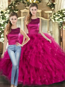 Popular Tulle Scoop Sleeveless Lace Up Ruffles Vestidos de Quinceanera in Fuchsia