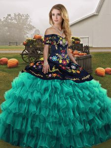 Fine Turquoise Organza Lace Up Off The Shoulder Sleeveless Floor Length 15 Quinceanera Dress Embroidery and Ruffled Layers