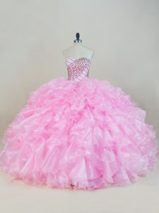 Baby Pink Lace Up Sweet 16 Quinceanera Dress Beading and Ruffles Sleeveless Floor Length