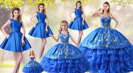 Fitting Blue Ball Gowns Organza Sweetheart Sleeveless Embroidery and Ruffled Layers Lace Up Sweet 16 Quinceanera Dress