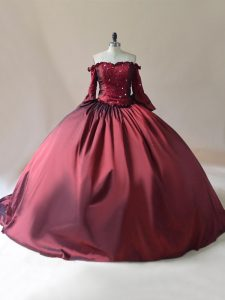 Burgundy Quinceanera Gown Off The Shoulder Long Sleeves Brush Train Lace Up