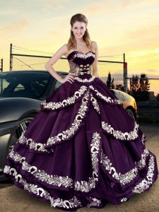 High Class Purple Sweetheart Lace Up Embroidery and Ruffled Layers Vestidos de Quinceanera Sleeveless