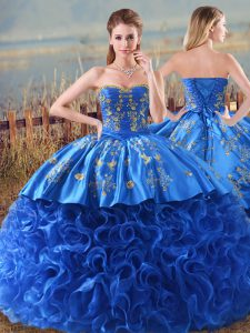 Royal Blue Fabric With Rolling Flowers Lace Up Sweet 16 Dress Sleeveless Brush Train Embroidery and Ruffles