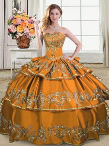 Brown Sleeveless Satin and Organza Lace Up 15th Birthday Dress for Sweet 16 and Quinceanera