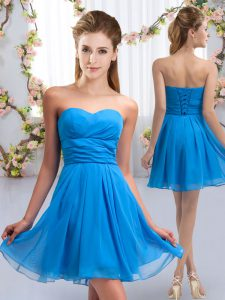Baby Blue Empire Sweetheart Sleeveless Chiffon Mini Length Lace Up Ruching Quinceanera Dama Dress