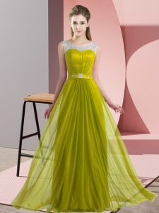 On Sale Olive Green Sleeveless Beading Floor Length Quinceanera Court Dresses
