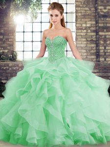 High Quality Green Lace Up Quince Ball Gowns Beading and Ruffles Sleeveless Brush Train