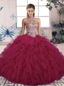 Luxury Halter Top Sleeveless Lace Up Vestidos de Quinceanera Burgundy Tulle