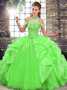 Organza Sleeveless Floor Length 15 Quinceanera Dress and Beading and Ruffles