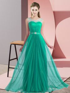 Dynamic Turquoise Chiffon Lace Up Scoop Sleeveless Floor Length Dama Dress Beading