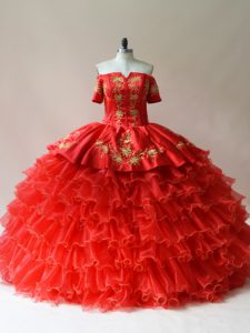 Organza Off The Shoulder Sleeveless Lace Up Embroidery and Ruffled Layers 15 Quinceanera Dress in Red