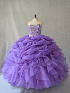 Fine Lavender Ball Gowns Beading and Ruffles and Pick Ups 15 Quinceanera Dress Lace Up Sleeveless Floor Length