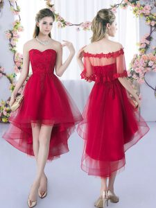Nice Wine Red A-line Sweetheart Sleeveless Tulle High Low Lace Up Lace Quinceanera Court Dresses