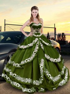High End Ball Gowns Quinceanera Gowns Olive Green Sweetheart Taffeta Sleeveless Floor Length Lace Up