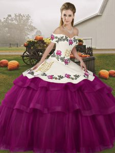 Cheap Fuchsia Quinceanera Dresses Tulle Brush Train Sleeveless Embroidery and Ruffled Layers