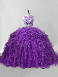 Purple Organza Zipper Scoop Sleeveless Quinceanera Gown Brush Train Beading and Ruffles