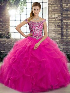 Sleeveless Tulle Brush Train Lace Up 15th Birthday Dress in Fuchsia with Beading and Ruffles