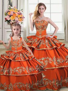 Captivating Floor Length Ball Gowns Sleeveless Orange Quinceanera Gowns Lace Up