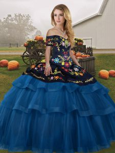 Traditional Blue And Black Quinceanera Gowns Off The Shoulder Sleeveless Brush Train Lace Up