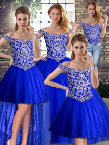 Royal Blue Sweet 16 Quinceanera Dress Tulle Brush Train Sleeveless Beading