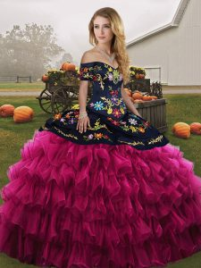 Fantastic Fuchsia Organza Lace Up Off The Shoulder Sleeveless Floor Length Ball Gown Prom Dress Embroidery and Ruffled Layers