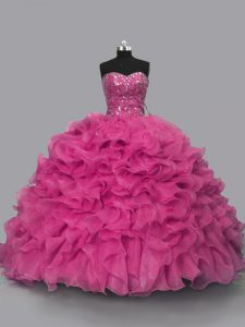 Captivating Sleeveless Lace Up Floor Length Beading 15 Quinceanera Dress