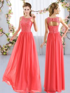 Traditional Coral Red Chiffon Zipper Quinceanera Court Dresses Sleeveless Floor Length Lace