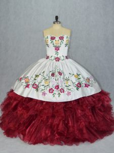 Decent White And Red 15th Birthday Dress Sweet 16 and Quinceanera with Embroidery and Ruffles Sweetheart Sleeveless Lace Up