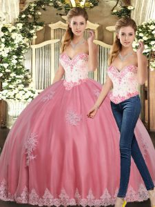 Watermelon Red Lace Up Sweetheart Beading and Appliques Vestidos de Quinceanera Tulle Sleeveless