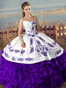White And Purple Sweetheart Lace Up Embroidery and Ruffles Sweet 16 Dresses Sleeveless
