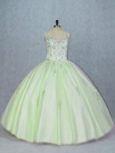 Yellow Green Tulle Lace Up Vestidos de Quinceanera Sleeveless Beading