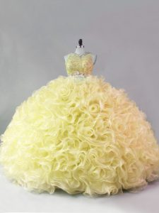 Yellow Sleeveless Beading Floor Length Quinceanera Dresses