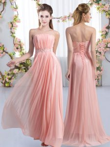 Spectacular Pink Empire Chiffon Strapless Sleeveless Beading Lace Up Quinceanera Court of Honor Dress Sweep Train