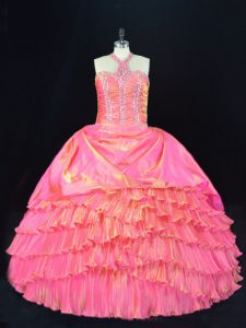 Edgy Rose Pink Halter Top Lace Up Beading and Ruffled Layers Quinceanera Gown Sleeveless