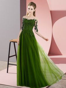 Deluxe Beading and Lace Quinceanera Court Dresses Olive Green Lace Up Half Sleeves Floor Length