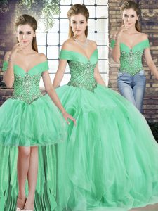 Fashionable Apple Green Off The Shoulder Lace Up Beading and Ruffles Quinceanera Gowns Sleeveless
