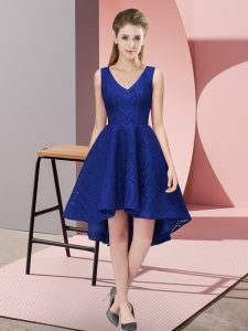 Royal Blue Sleeveless Lace Zipper Quinceanera Court Dresses for Wedding Party
