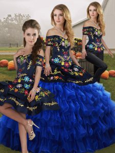 Blue And Black Lace Up Off The Shoulder Embroidery and Ruffled Layers Vestidos de Quinceanera Organza Sleeveless