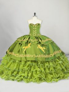Shining Olive Green Satin and Organza Lace Up Quinceanera Dresses Sleeveless Brush Train Embroidery and Ruffled Layers