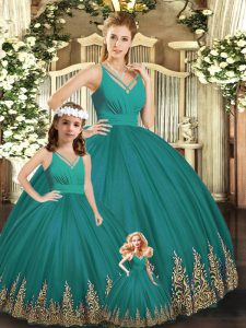 Superior Turquoise Sleeveless Tulle Backless 15th Birthday Dress for Sweet 16 and Quinceanera